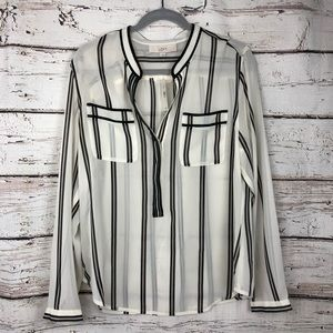 Nwt Loft Sheer Top - Popover Style